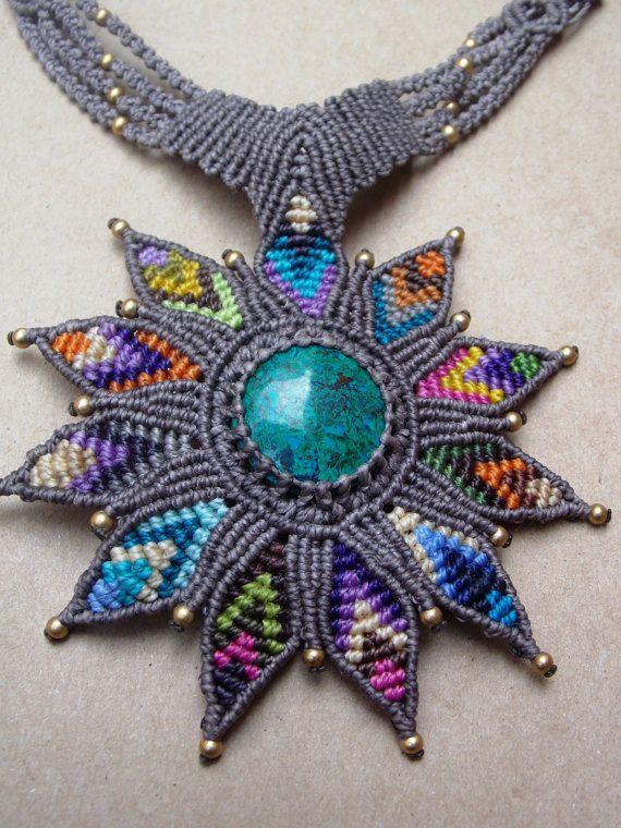 Lotus Macrame Necklace/Rainbow Lotus Flower/Turquoise Gemstone/Healing Stone/Yoga Jewelry