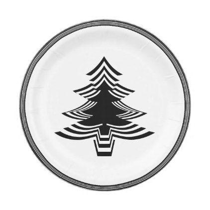 Black White Christmas Tree Font Geometric Pattern Paper Plate Zazzle Com Black White Christmas Tree Black White Christmas White Christmas Tree