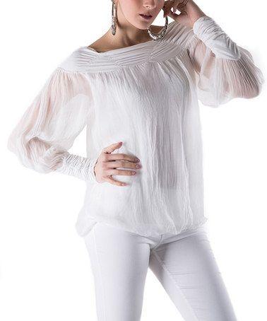 Another great find on #zulily! White Silk Boatneck Top by Keysha #zulilyfinds