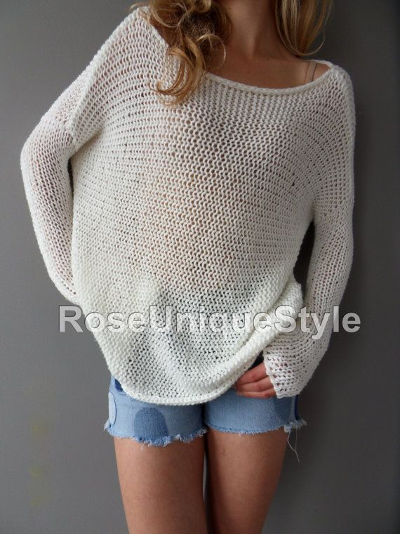 Slouchy/ Spring/Summer cotton blend sweater. Loose knit sweater ...