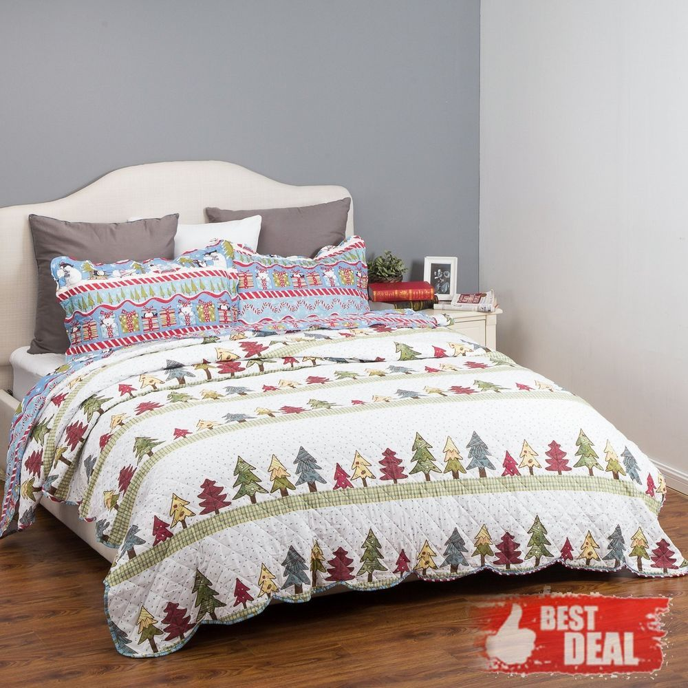 Christmas Quilt King Size Holiday Microfiber Sham Luxurious Soft ...