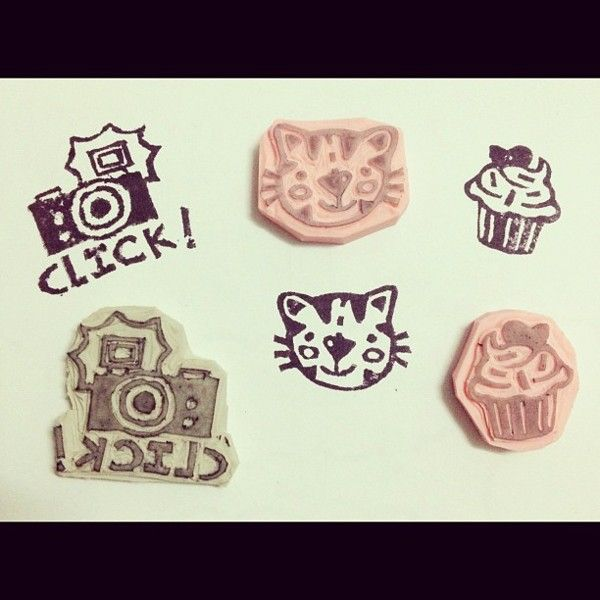 Hand-carved rubber and eraser stamps by Regina Silva. http://www.behance.net/