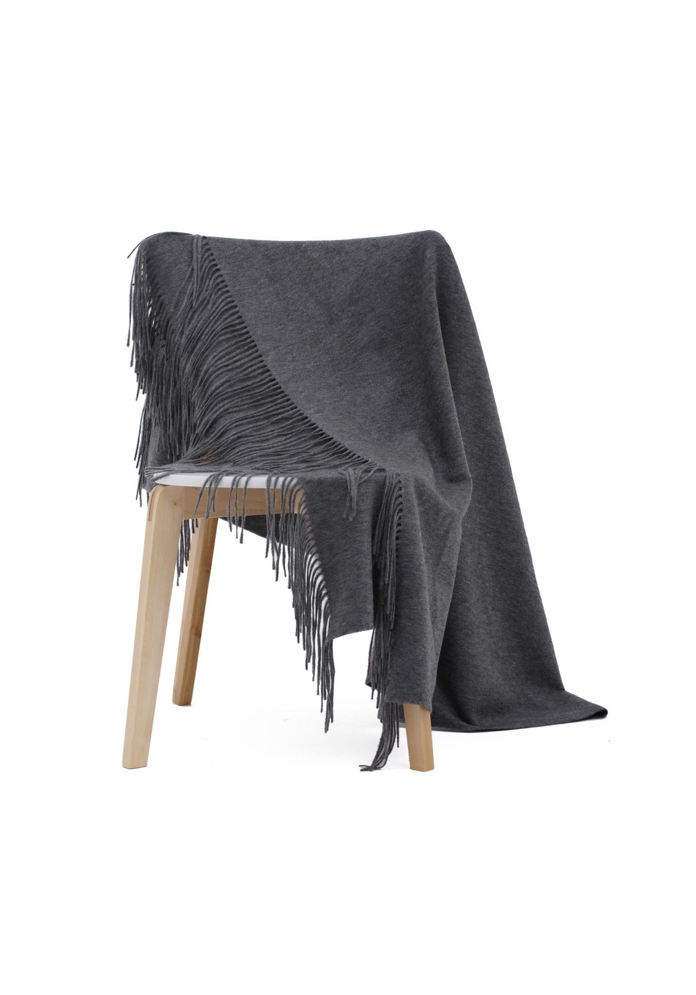 Travel Blanket Grey Water Wave 100% Cashmere