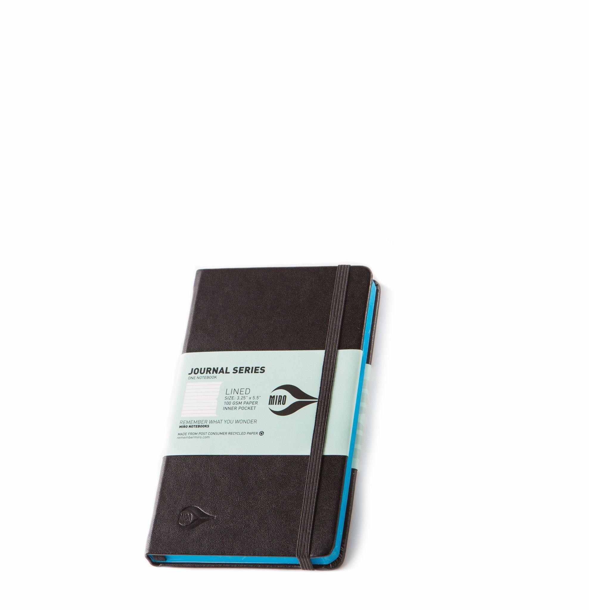 Small 3x5 Black Journal Cyan Edge
