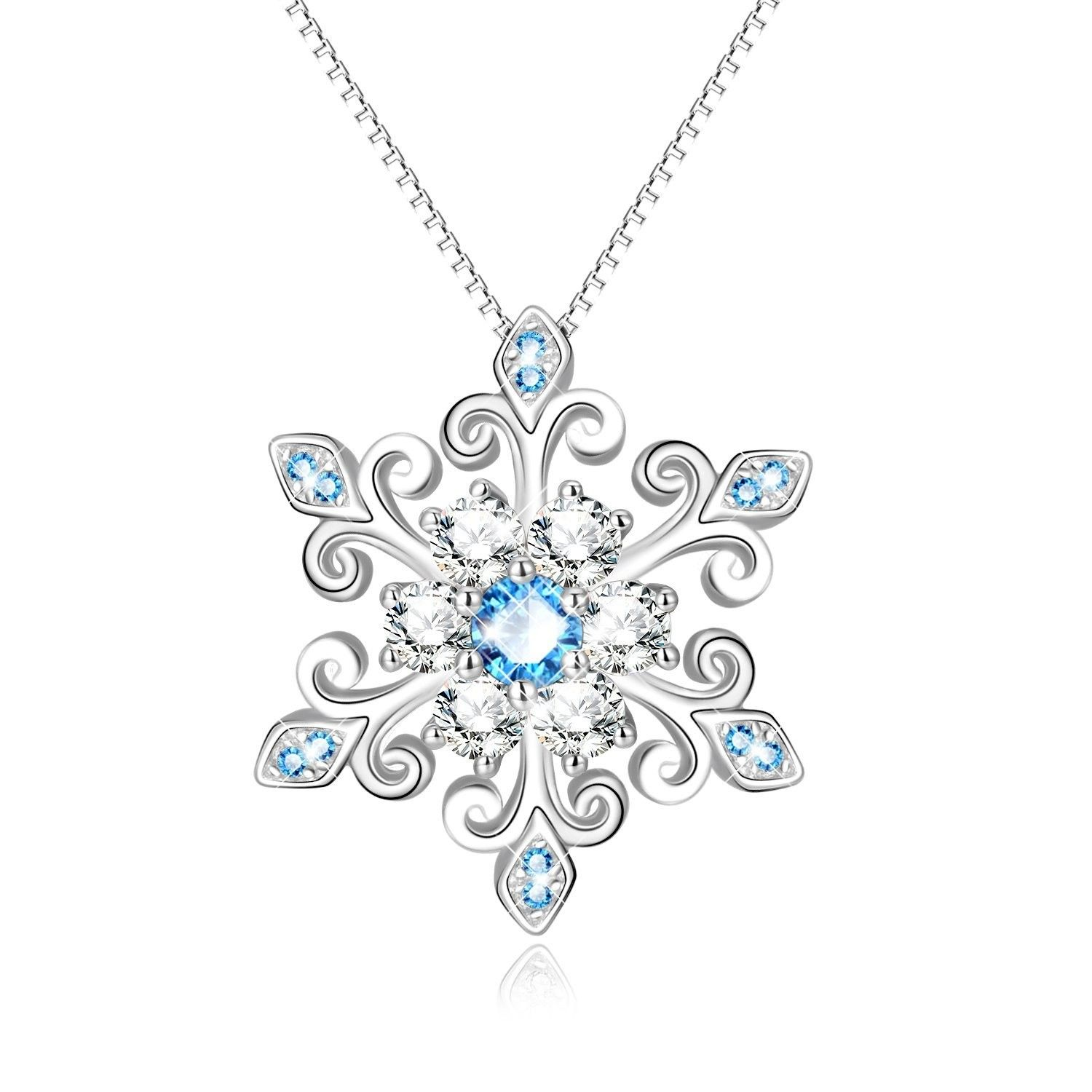 Pendants, 925 Sterling Silver Fleur De Lis Blue and White Snowflake Pendant Necklace-Gift for Her - C01883S44IM  #Necklaces #designer #womensfashion #Jewelry #Styles #Pendants