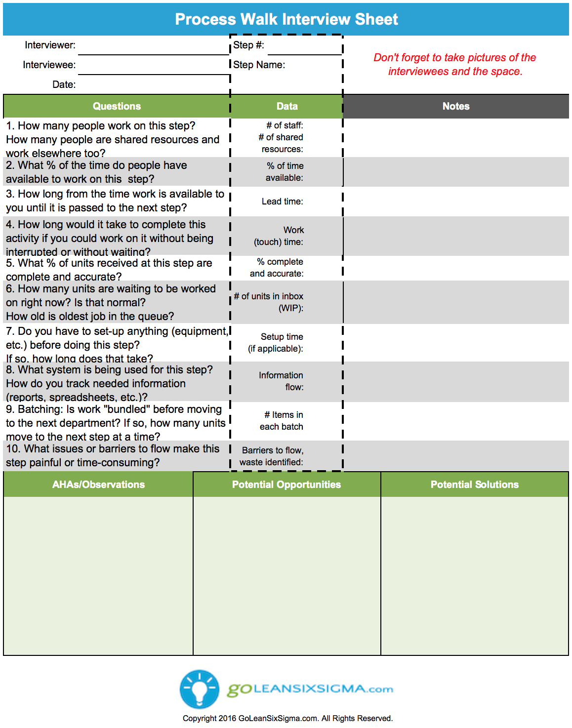 Process Walk Interview Sheet Aka Gemba Walk Interview Sheet