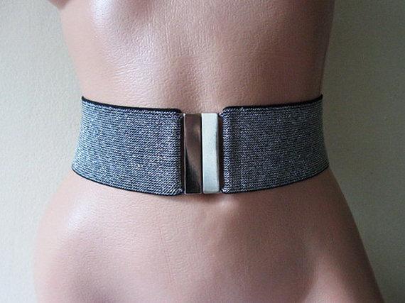 52dd66d01ee Women s Silver belt Sparkling Waist cincher Elastic Stretch wide Glitter Black  Silver simple belt wo