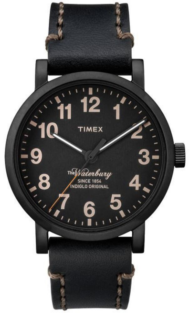 895591c45082 Watch Timex TW2P59000 man leather black total black waterbury original  indiglo  Timex