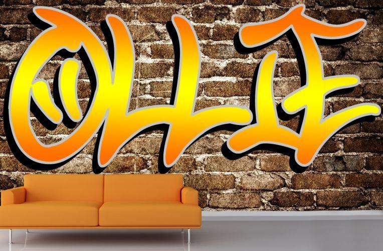 Custom Name Graffiti Wallpaper Mural Muralswallpapercouk In 2018