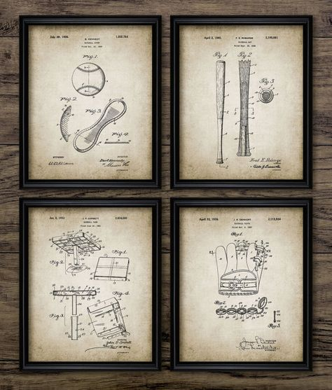 Vintage baseball patent print baseball sport boys room gift home vintage baseball patent print baseball sport boys room gift home decor mancave wall art set of 4 prints 415 instant download malvernweather Choice Image