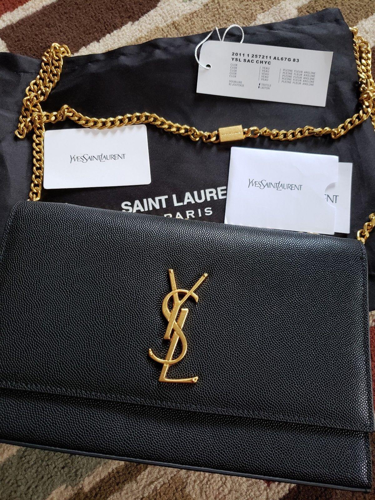 aad02008f1e YSL SAINT LAURENT KATE BAG BLACK MEDIUM GOLD HARDWARE | Saint Lauren ...