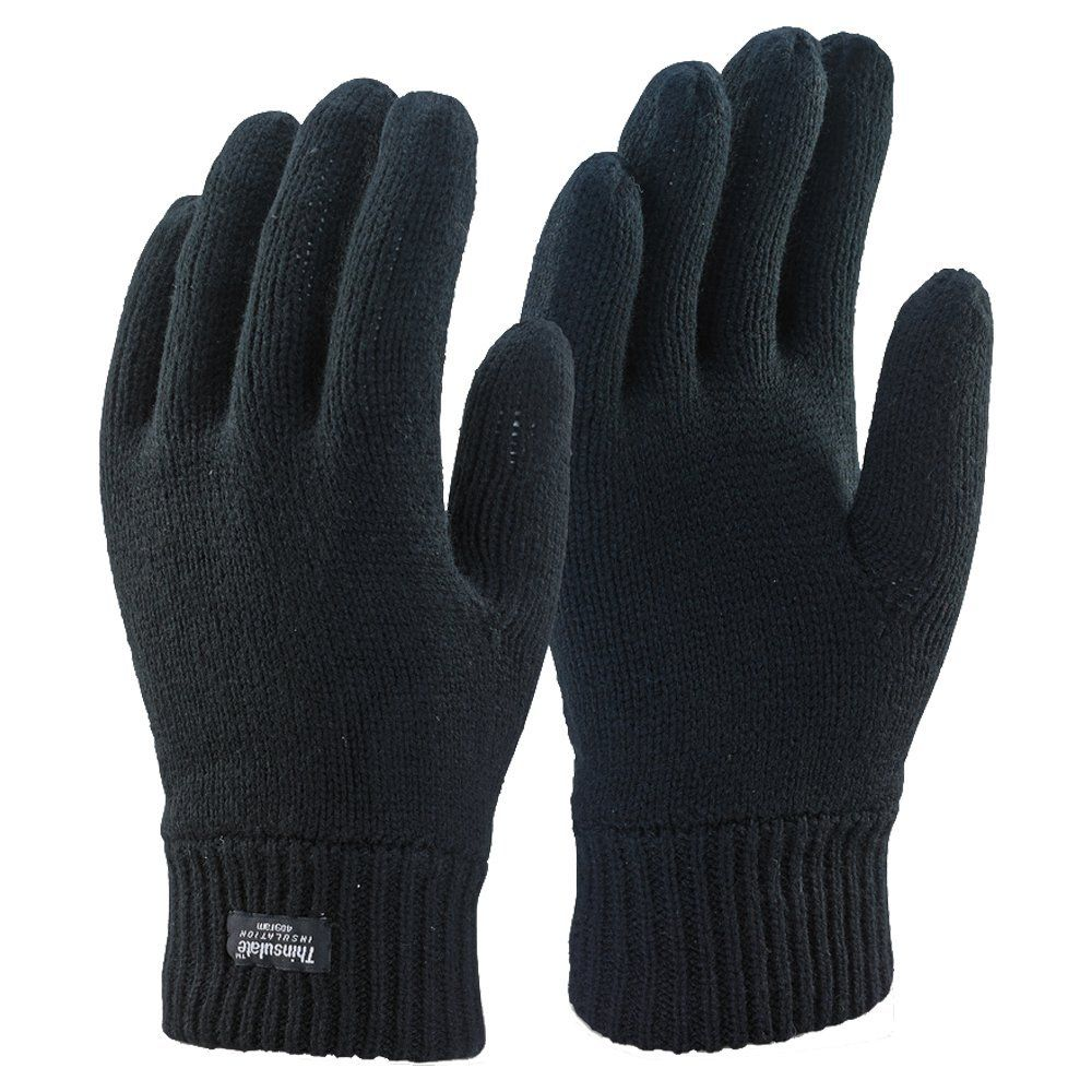 fa0a6d9282a57 Mens 3m Black Thinsulate Thermal Lined Winter Gloves Medium Large at Amazon  Men s Clothing store
