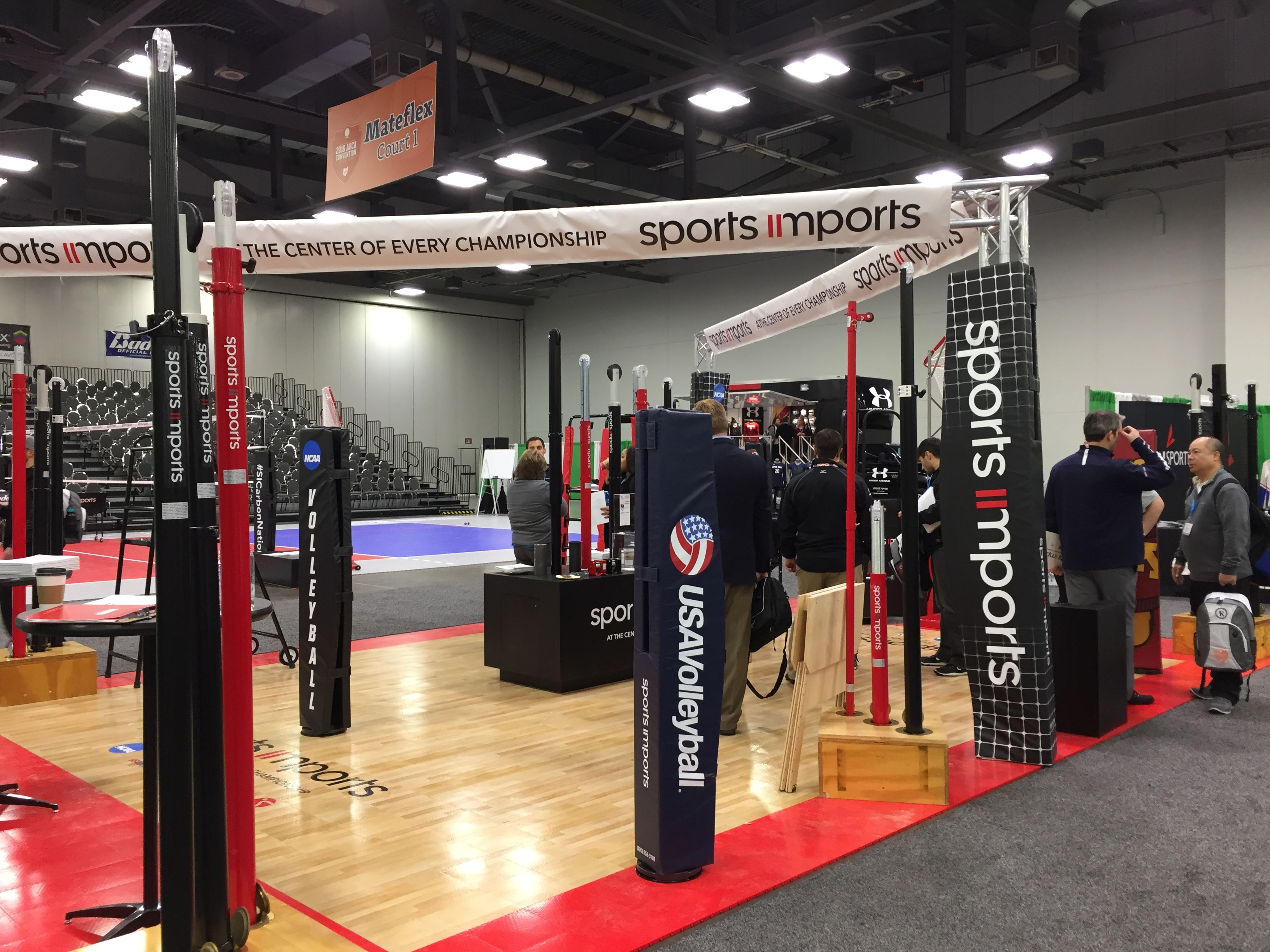 Sports Imports Booth At The Avca Convention Volleyball Net Outdoor Volleyball Net Volleyball Equipment