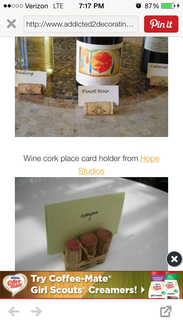 Wine cork place cards or food markers