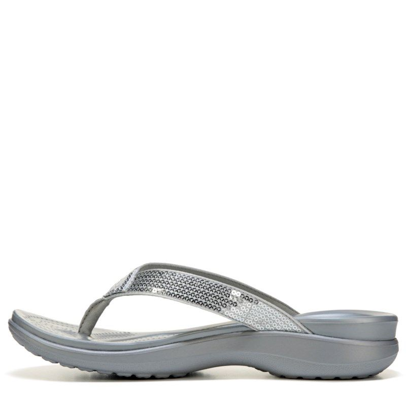 ad1ffbe8406c Crocs Women s Capri Sequin Flip Flop Sandals (Silver) - 10.0 M