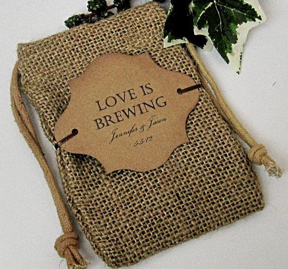 20 Burlap Wedding Favor Bags Love Is Brewing By CottageCandies 3600