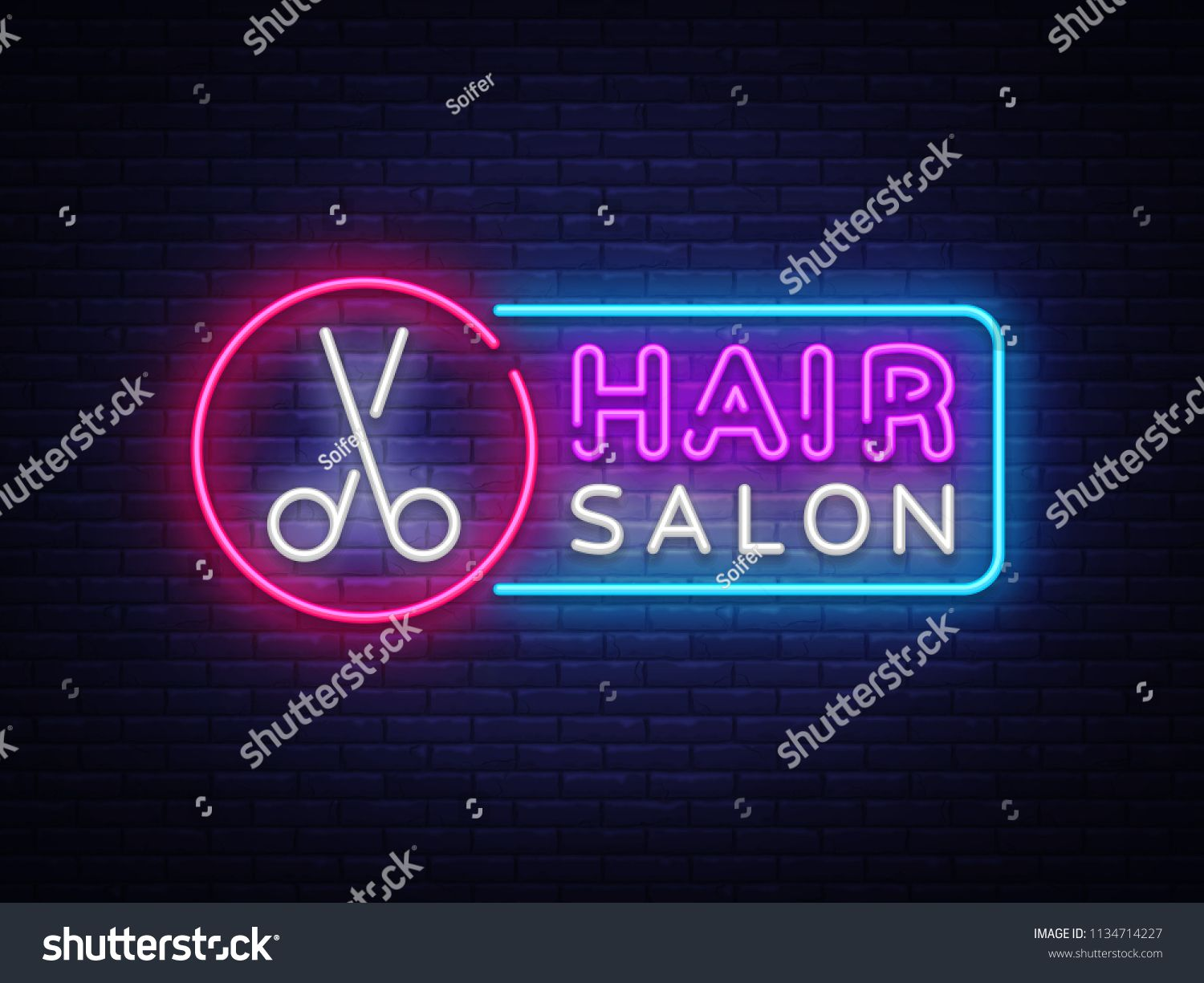 Hair Salon Neon Sign Vector Hairdress Design Template Neon Sign