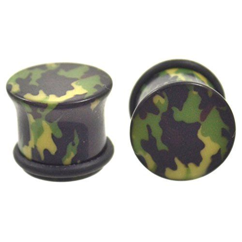Camouflage Single Flared Ear Gauge Plug Sold as a Pair