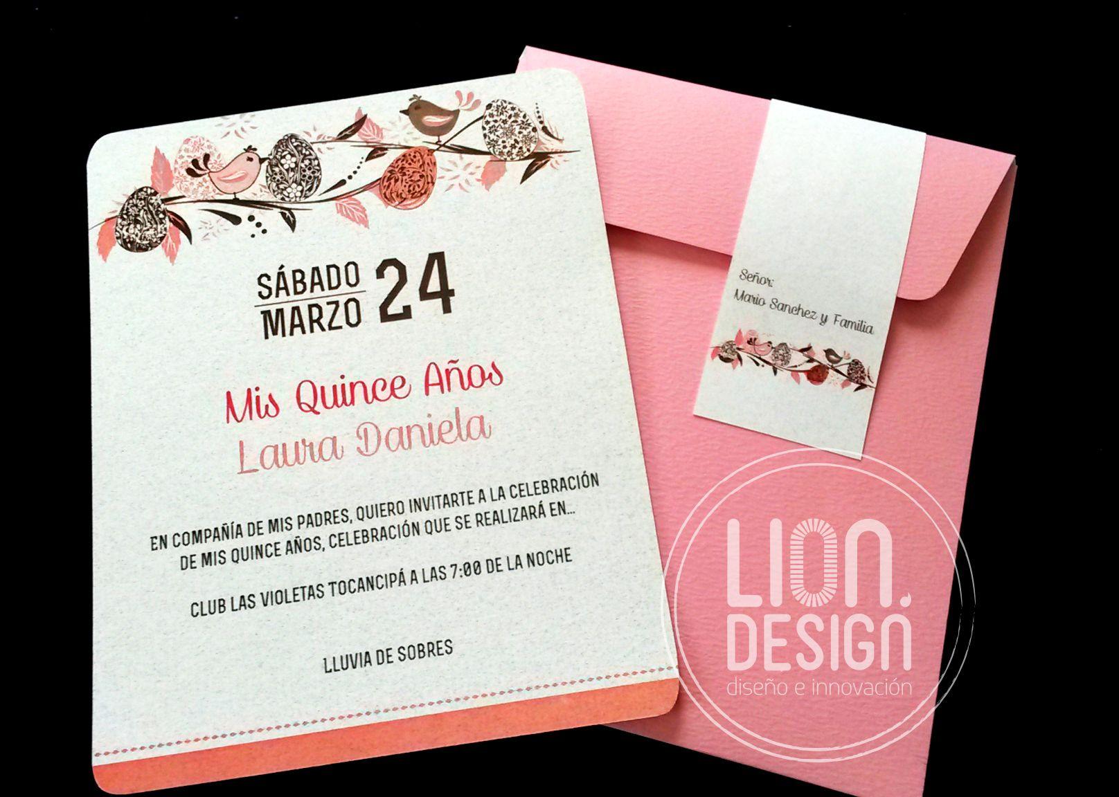 Linda tarjeta para quince a os dise os lion pinterest for Tarjetas de 15 anos vintage