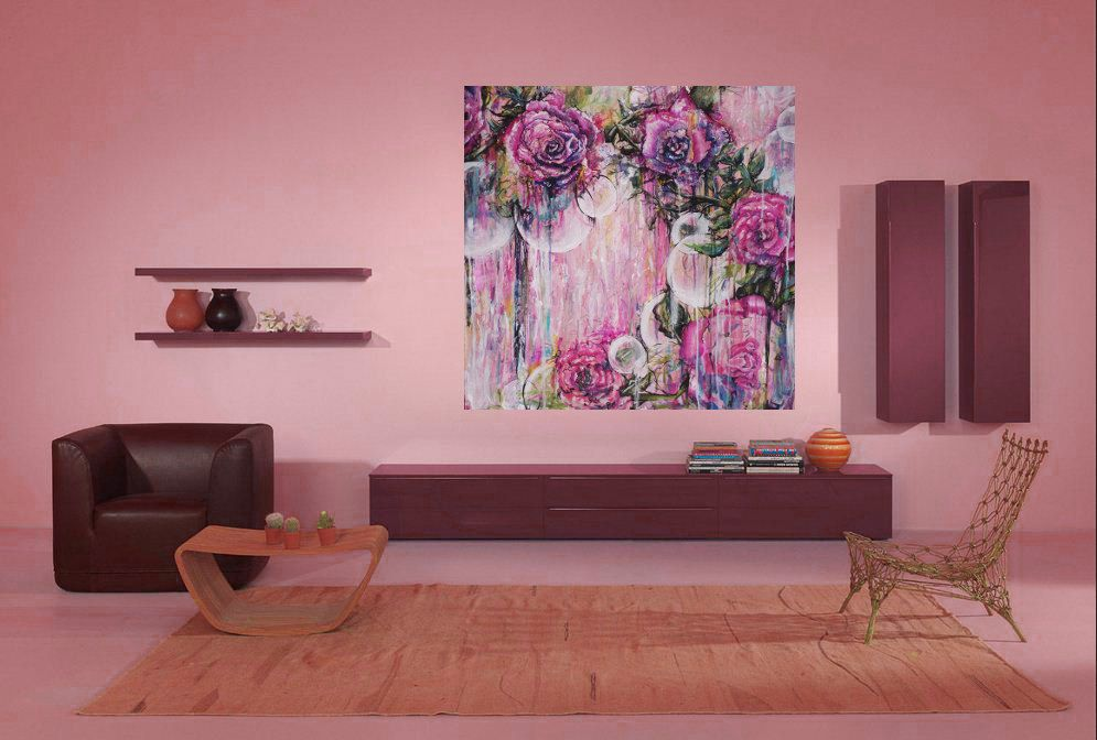 Orbs- Large Giclee Canvas Print - Contemporary Art in Pink, Mauve ...