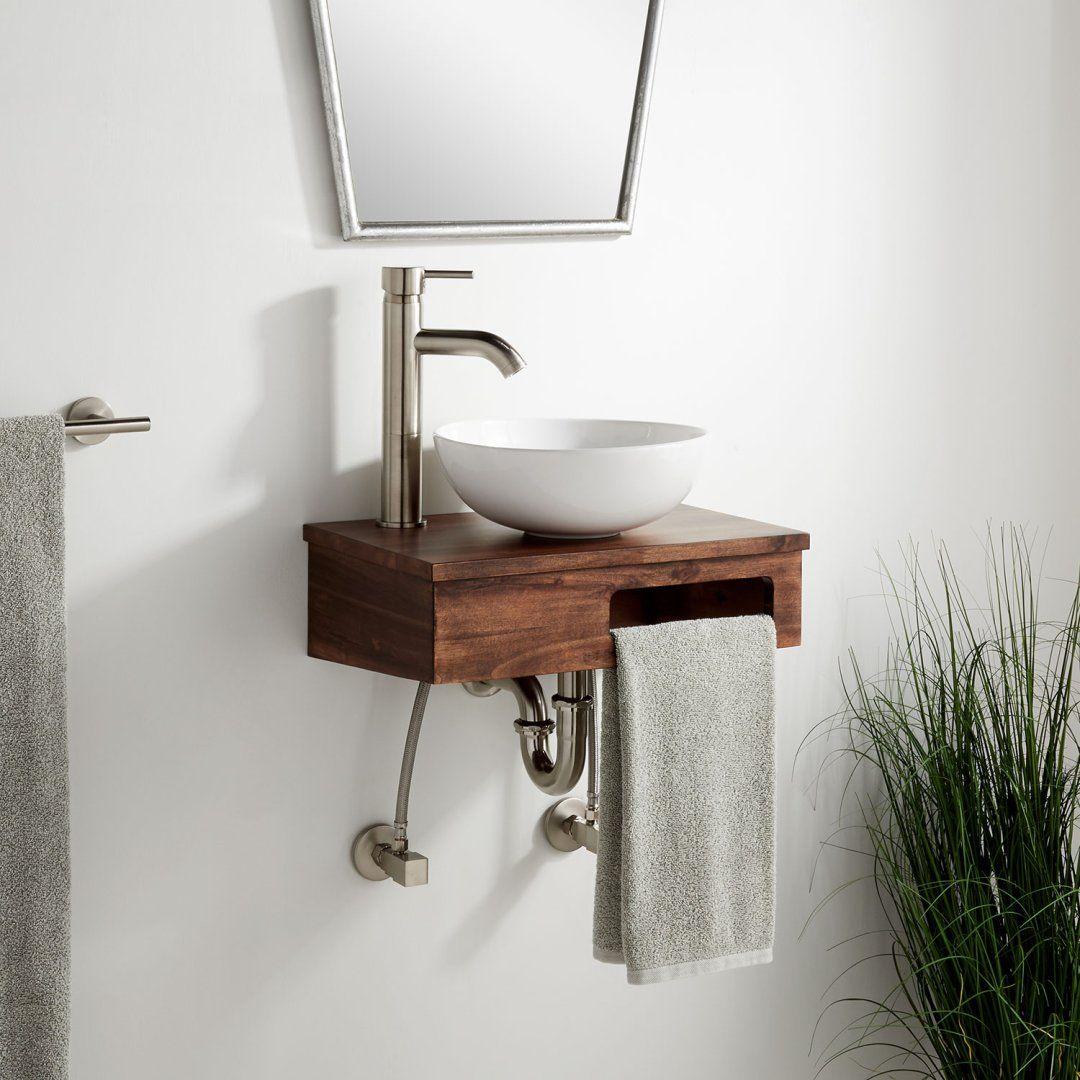 18 Nadiya Wall Mount Vessel Sink Vanity Chestnut Brown In 2021 Vessel Sink Vanity Small Bathroom Sinks Vanity Sink Bathroom vanity exposed plumbing