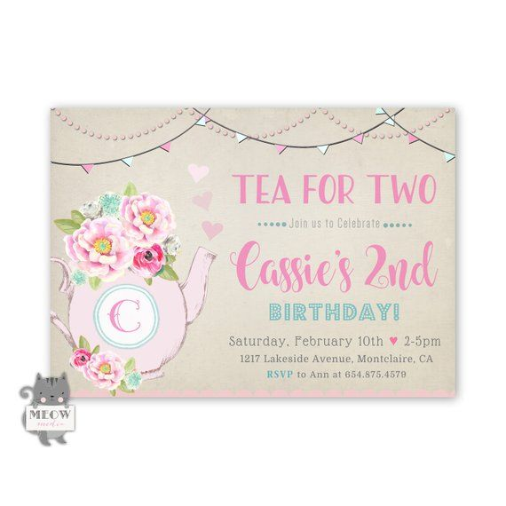 Tea For Two Invitations 2nd Birthday Party Invitation 2 Inv