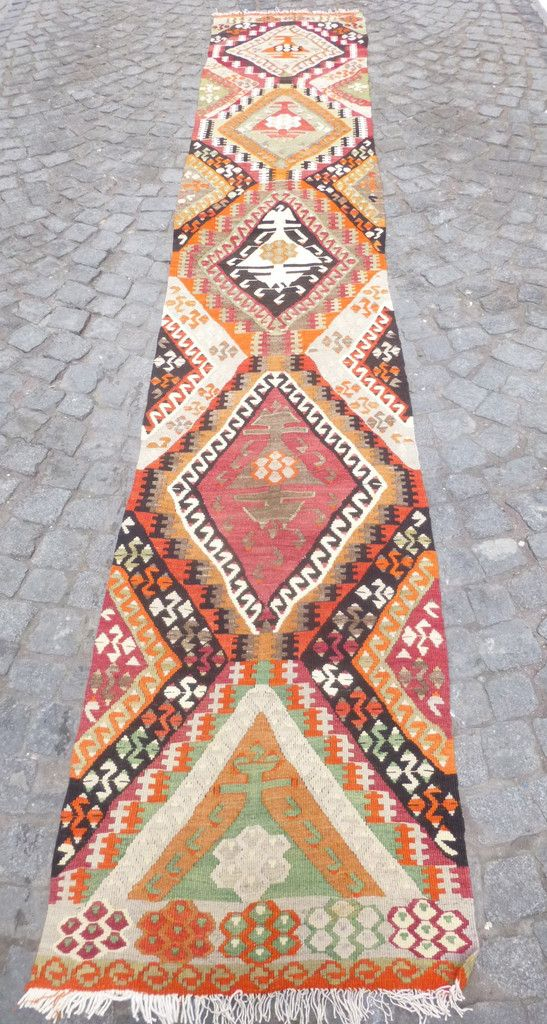 12,72 x 2,16 feet, Long colorful ethnic kilim runner rug