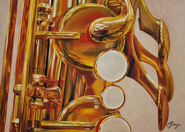 Oil Painting by Emily Page #music #instruments #saxophone