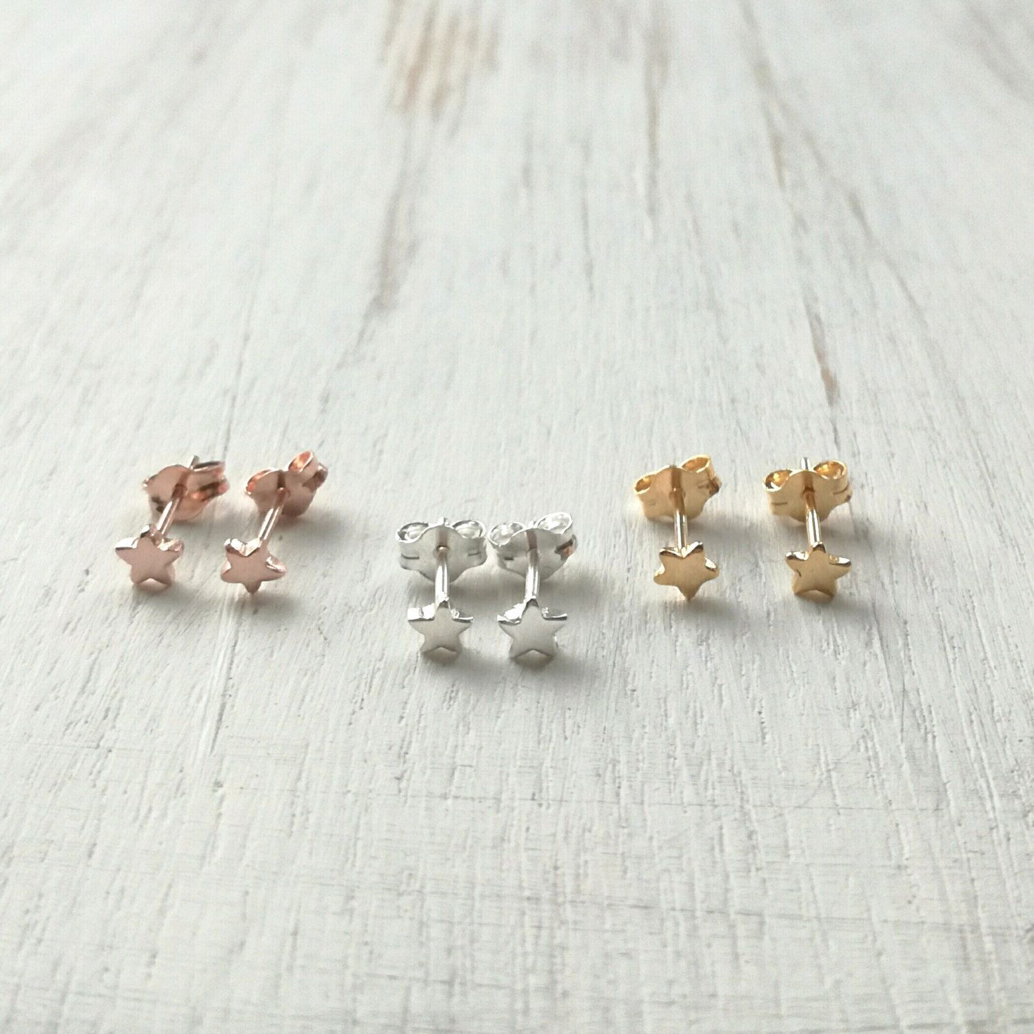Sterling Silver Star Stud Earrings Tiny Rose Gold Studs Stars