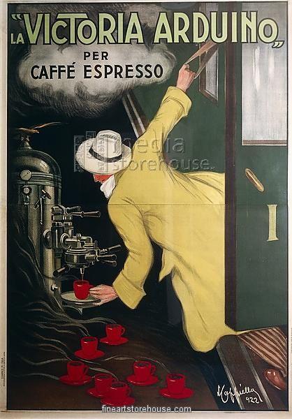 Posters, Italy, 20th century. The Victoria Arduino espresso coffee machine. Illustration by Leonetto Cappiello (1875-1942)