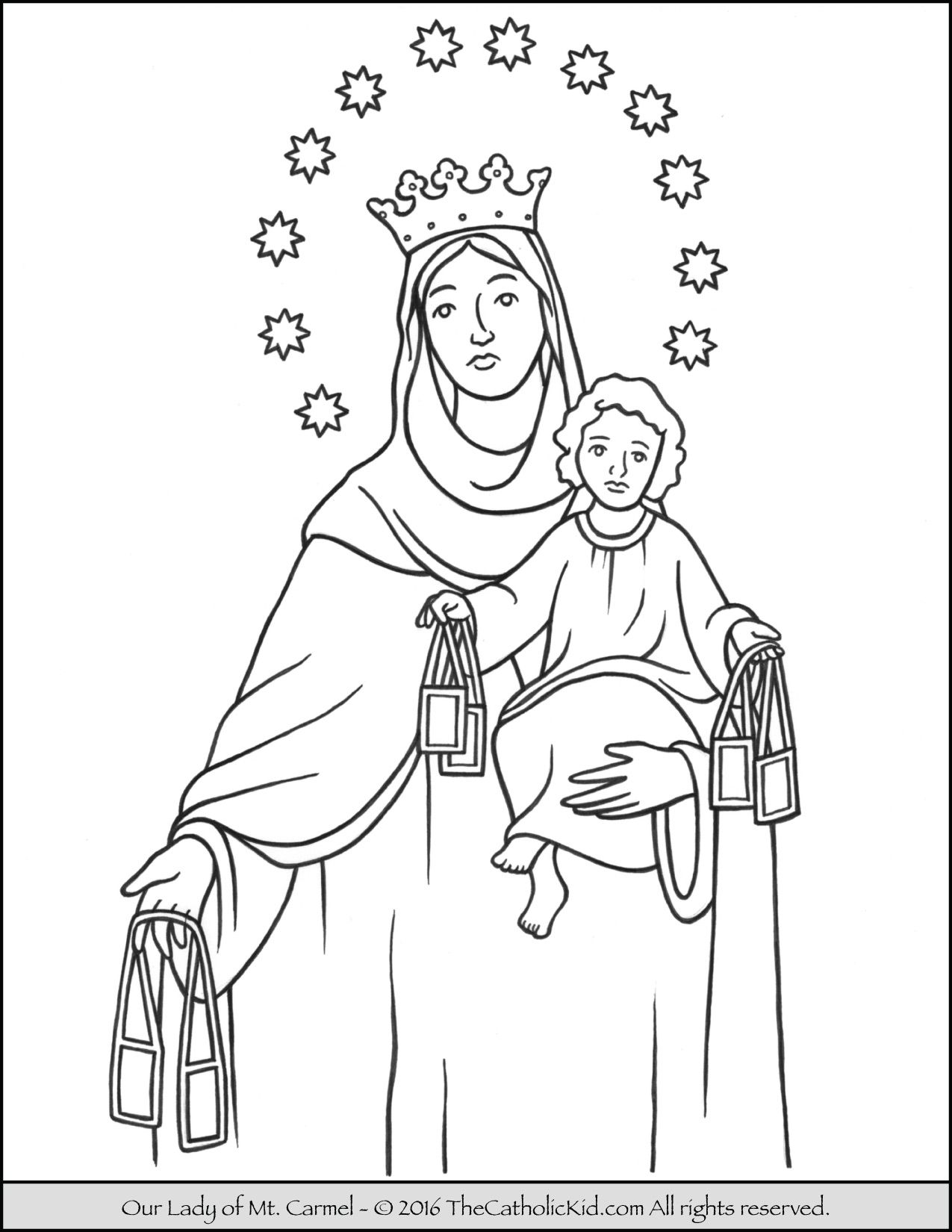 Our Lady Of Mt Carmel Coloring Page Thecatholickid Com
