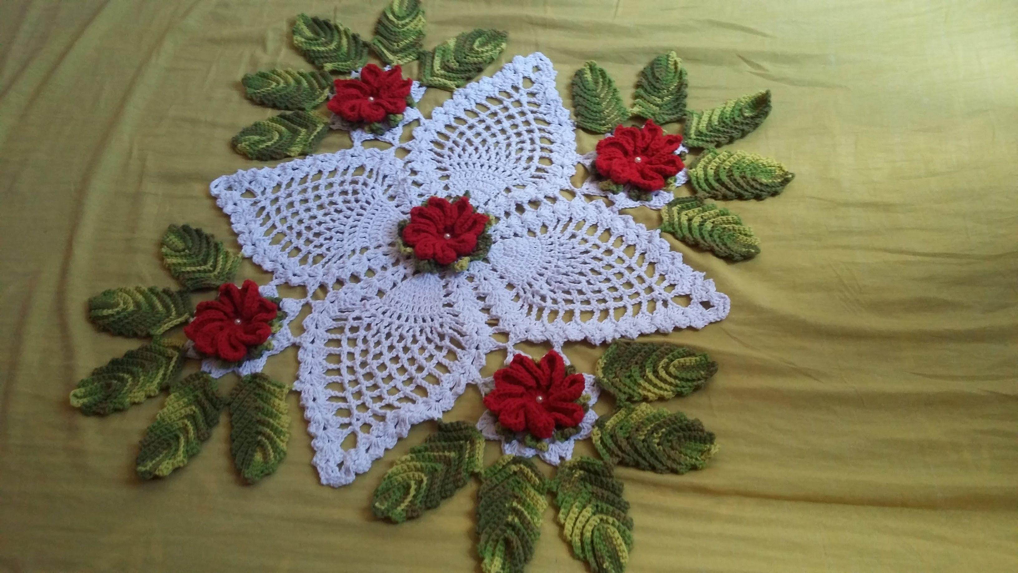 Flor do centro de mesa florido crochet doilies - Centros de mesa de ganchillo ...