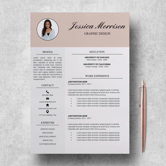 Photo Resume Template Modern CV Template Word Creative Resume - resume template for mac