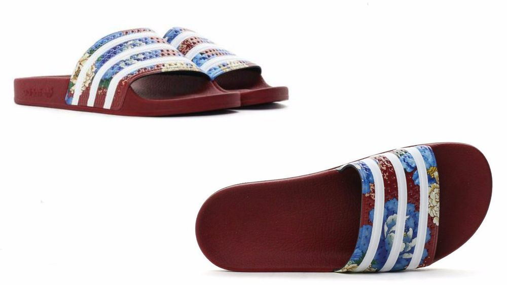 19b01d71dc06 WOMENS ADIDAS ORIGINALS ADILETTE FLORAL SLIDES Power Red WHITE BB5099   ADIDAS  BB5099