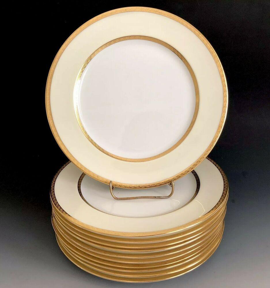 Set Of 11 Antique Royal Doulton Cream Border Gold Trim 9 1 8 Plates E5274 Royal Doulton Gold Trim Antiques