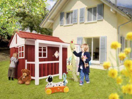 Amazing Holz Kinder Spielhaus Ida Schwedenhaus Holzhaus Gartenhaus Haus Kinderhaus rot Amazon de