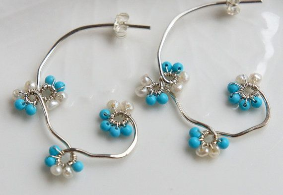 Sterling Silver Turquoise Hoop Earrings Wire Wrapped Flower Vine Feminine Blue White Wedding Bridal Jewelry via Etsy