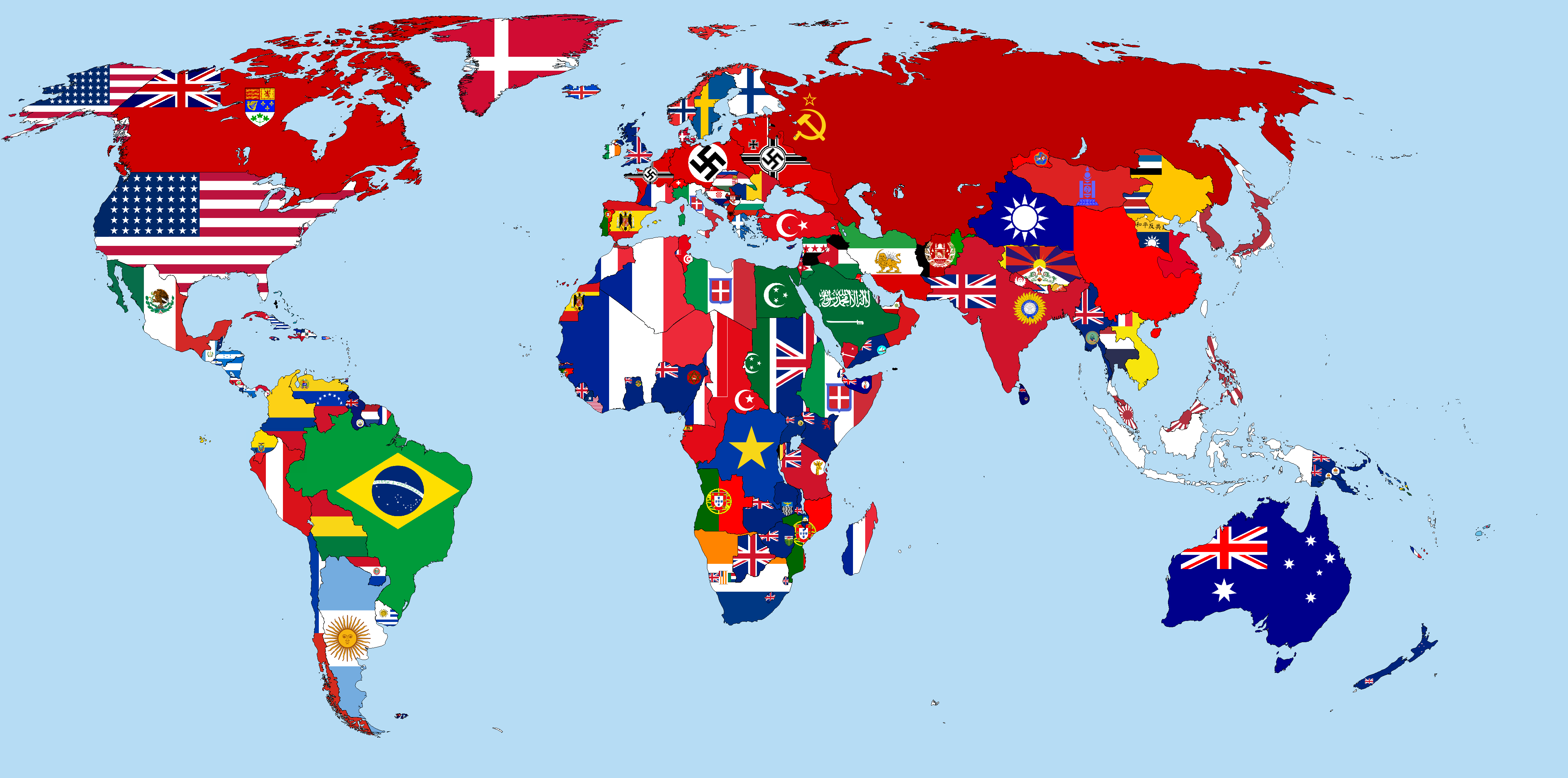 Flag map of the world 1942 maps pinterest explore world maps world map quiz and more gumiabroncs Gallery