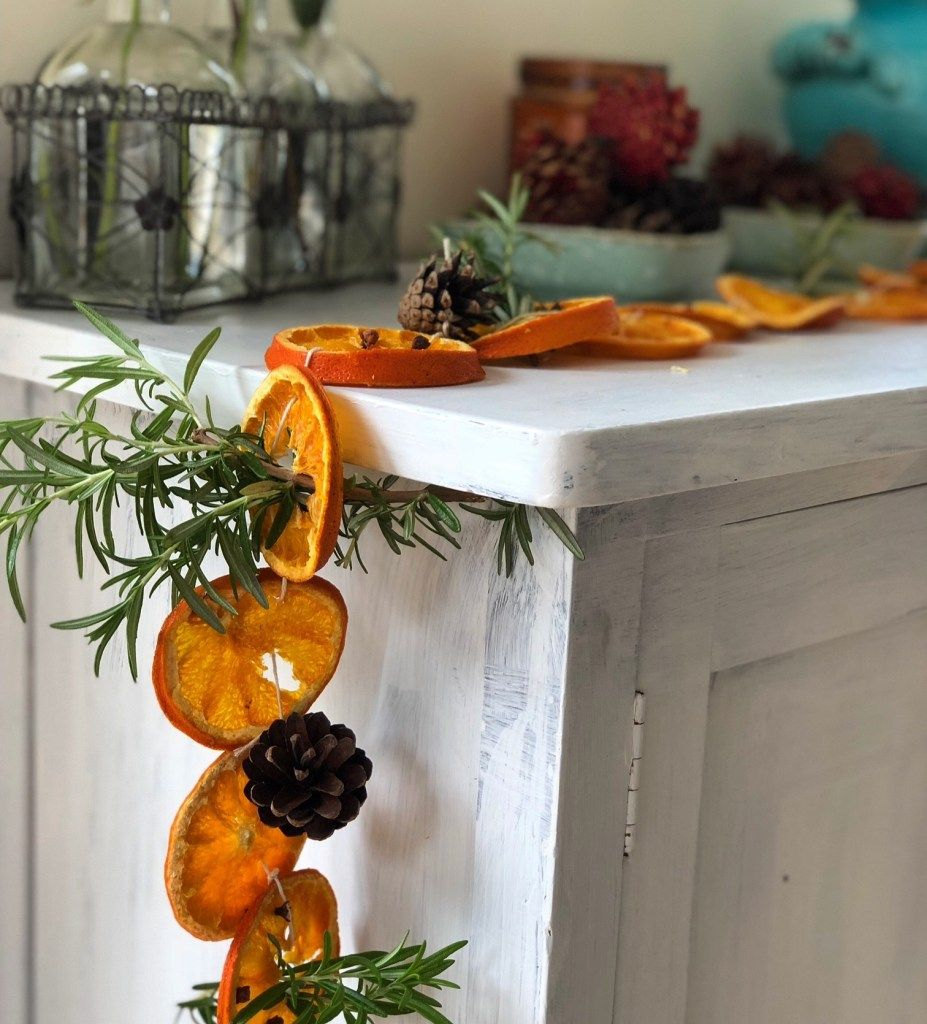Dried Orange and Clove Garland with Rosemary Sprigs