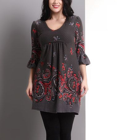 Look what I found on #zulily! Charcoal Paisley Bell-Sleeve Empire-Waist Tunic - Plus #zulilyfinds