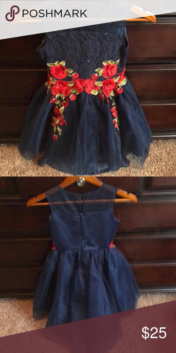 e337e2da Girls' Dress Very good used condition Sheer neckline Hi-lo 3-D rose ...