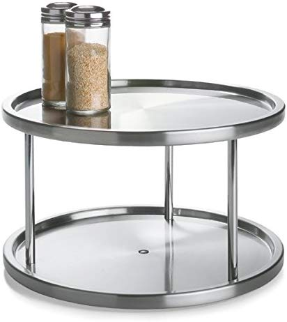 Amazon Com Lovotex 2 Tier Lazy Susan Stainless Steel 360 Degree Turntable Rotating 2 Level Tabletop Stand For Yo In 2020 Spice Rack Organiser Spice Rack Lazy Susan