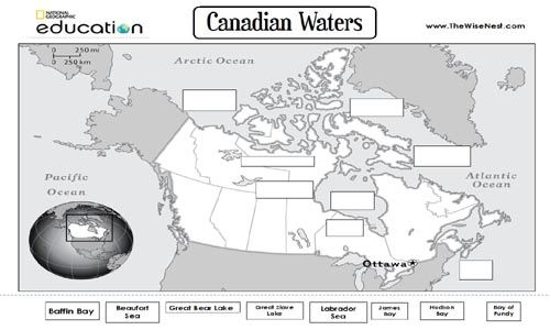 canada water bodies to label website offers other geography print outs and learning ideas