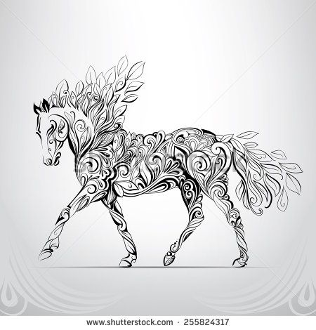 horse in the ornament stock vector patterns. Black Bedroom Furniture Sets. Home Design Ideas