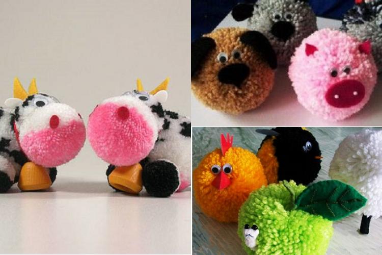 18 animaux fabriqu s partir de pompons pompons animal et bricolage. Black Bedroom Furniture Sets. Home Design Ideas