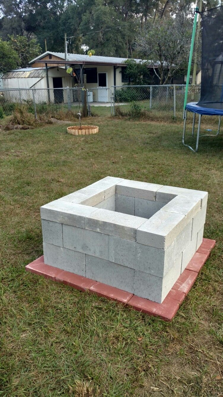 People Add A Cinder Block Fire Pit To Their Residence Due To The