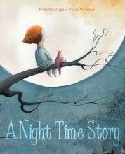"""A nighy time story / Roberto Aliaga. """"Every night, before I go to sleep, she sits down on my bed with heaps of stories in her hands. She chooses one at random, and in a gentle voice, begins to read… Right away, my bedroom is full of words and pictures. Because in her stories, I'm always the main character.""""    A child, the night, and dreams…    A Night Time Story visits this magic moment, when all of the things we imagine, all of the things we dream, parade before our eyes…"""