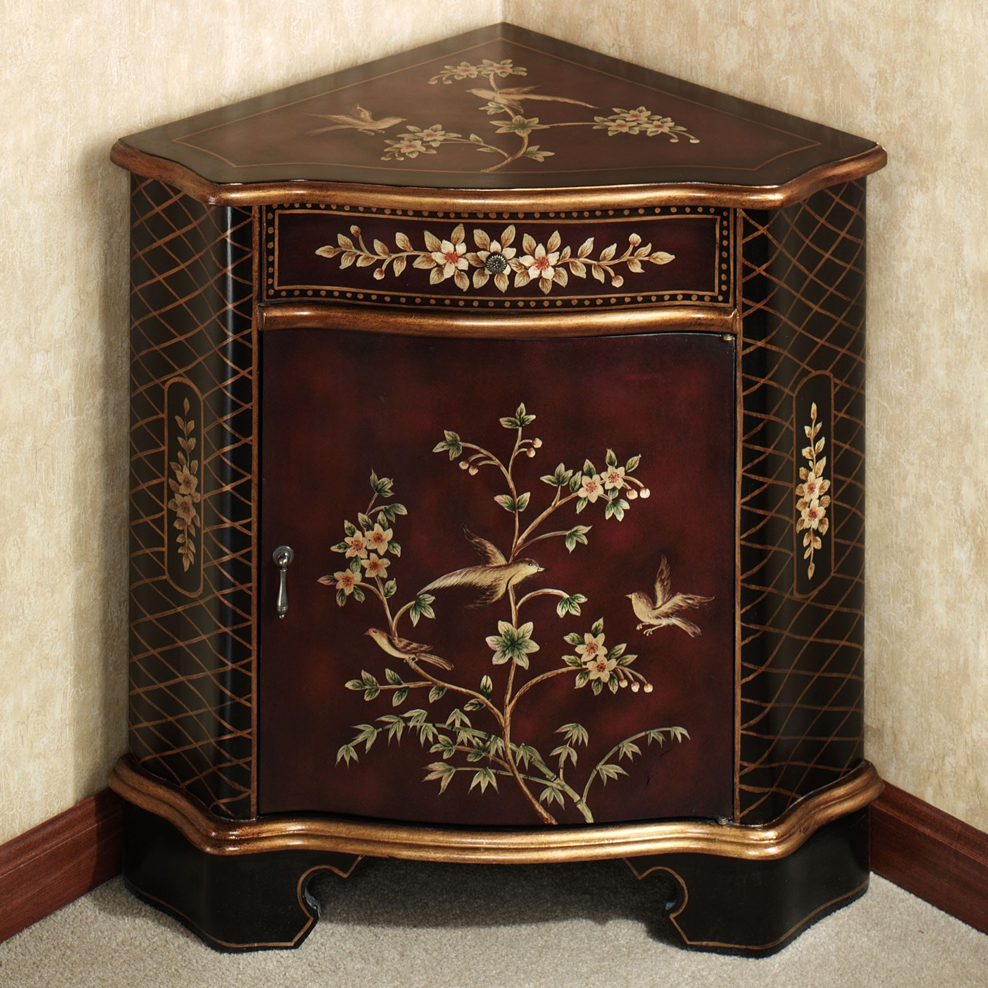 Luxury Corner Accent Table For Dining Room Of Annika With Black And Gold Design