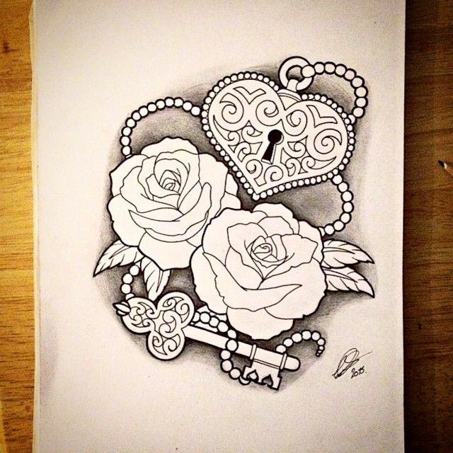 Some Roses With A Heart Shaped Lock And Key And Some Beads Roses Key Tattoo Designs Key Tattoos Heart Locket Tattoo