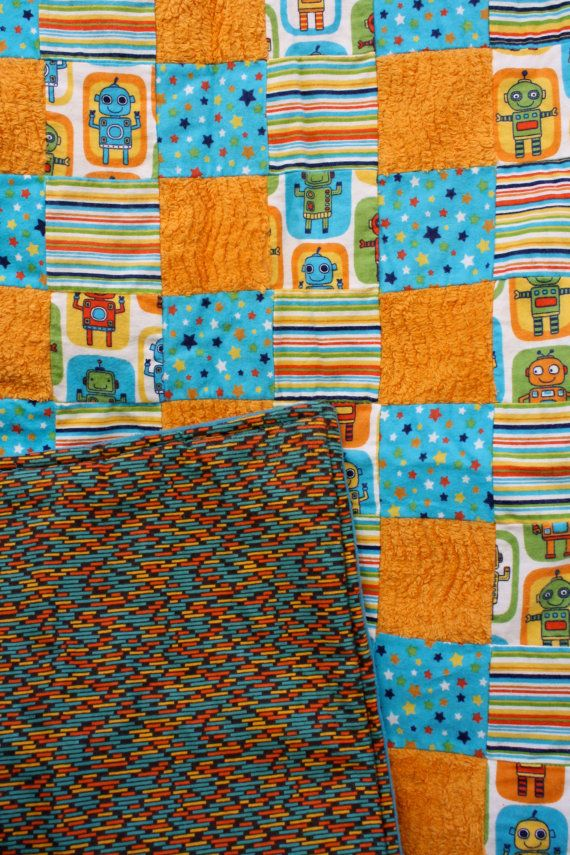 Turquoise and Orange Robot Baby Toddler Quilt by snowflowerbaby, $45.00